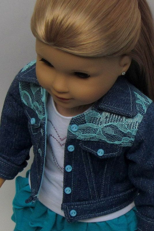 American Girl Doll Jean Jacket with Aqua Lace by MiniPParel, $32.00