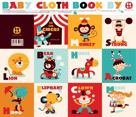 Baby cloth book at Spoonflower by bora