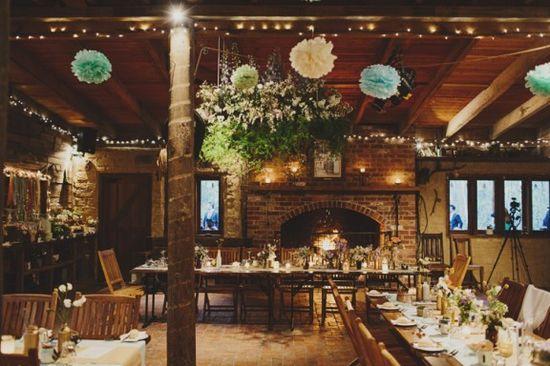 Cosy rustic barn wedding reception
