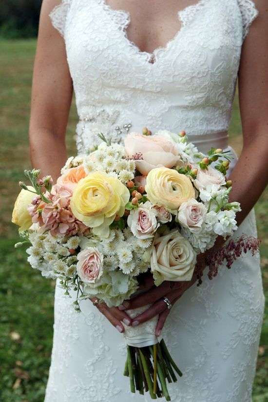 A Romantic Garden Wedding - lace gown and pastel bouquet #garden #wedding #bouquet #dress #bride #gown #vintage