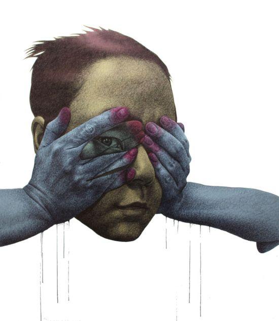 "Saatchi Online Artist: seungyea park; Paper, Mixed Media ""blind me not"""