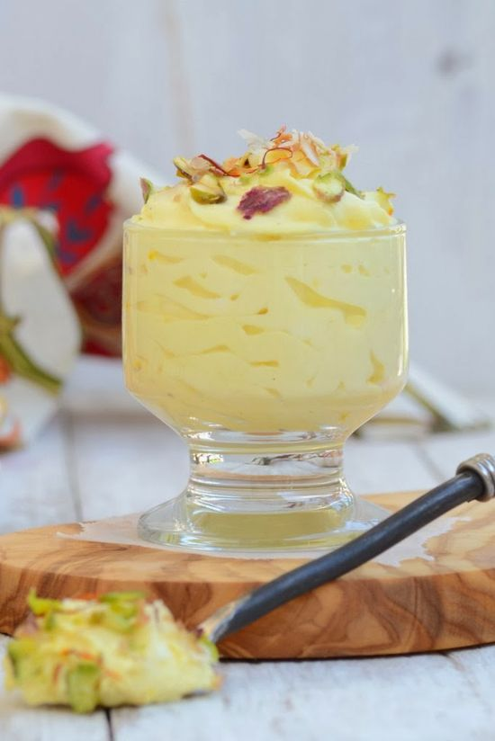 Kesar Elachi Srikhand. A healthy dessert made with hung yogurt and flavored with saffron and cardamom.