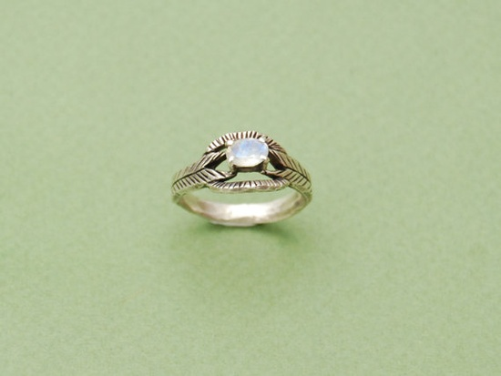 Moonstone deco ring in silver by datter on Etsy, $86.00