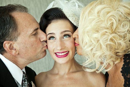 Core Productions - bride with parents, unique wedding photo
