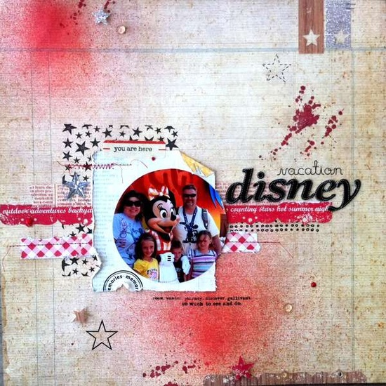 just look at the texture in this Disney Vacation scrapbook page!