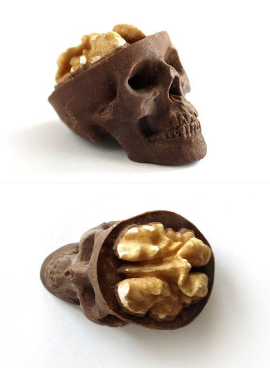 """Chocolate Skulls Gone Nuts      ::          Three delicious chocolate skulls with walnut / candy brain, sized:  - 5 x 3.5 x 3cm (2"""" x 1.38"""" x 1.18"""")."""