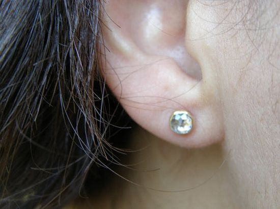 Gold Earrings studs Similar diamond stone  White Topaz by OritNaar, $89.00