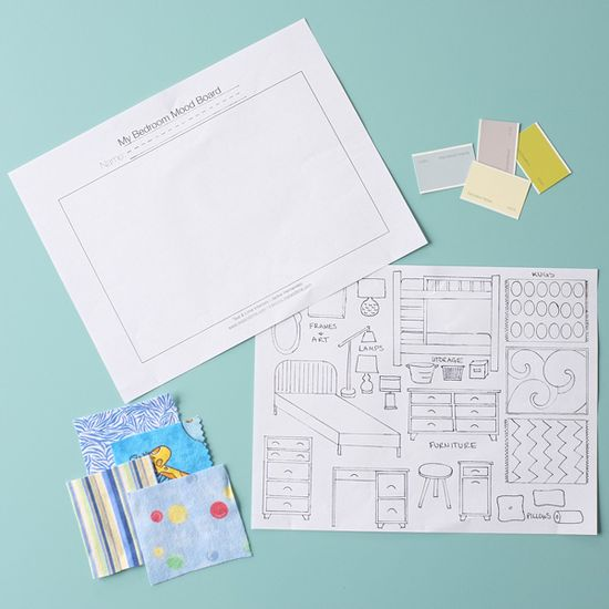 Mood Board Activity Sheet and visual aids to teach Kindergarteners about Interior Design
