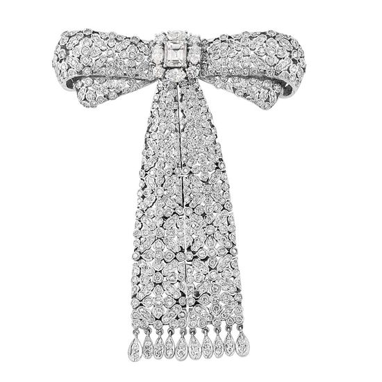 White Gold and Diamond Bow Fringe-Brooch   18 kt., one emerald-cut diamond ap. .40 ct., 4 marquise-shaped & 471 round diamonds ap. 3.35 cts., one diamond missing, ap. 12 dwt.