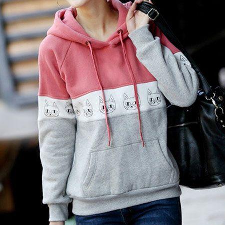 Leisure Cute Cat Print Mixing Color Hood Sweatshirt