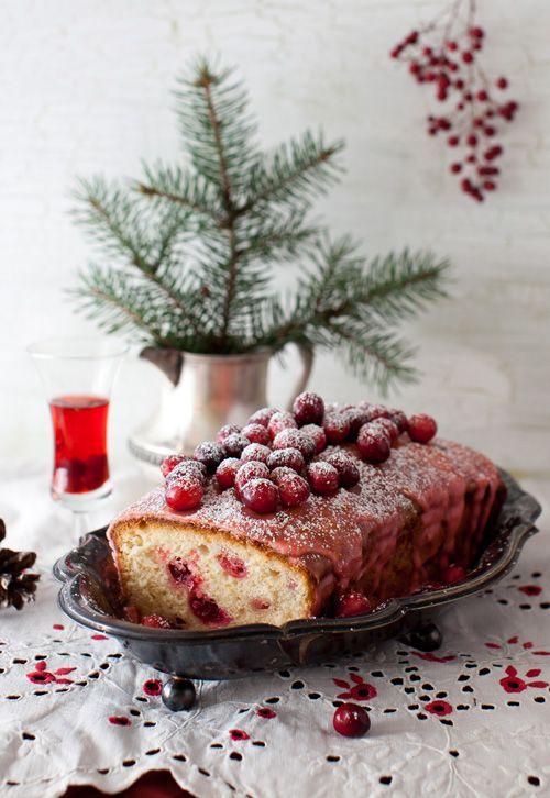 Lemon Cake with Cranberries and Lemon Icing. Mmm!
