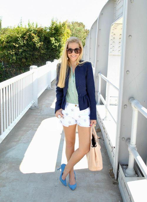 star spangled shorts & a classic, cute blazer
