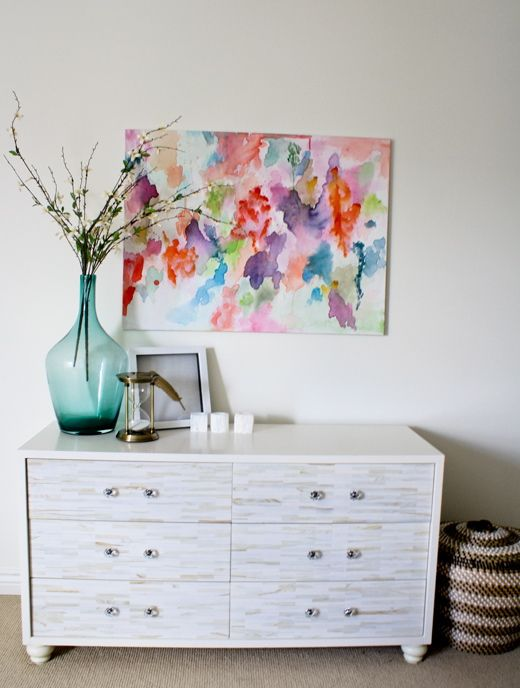 6th Street Design School: One Week Room Design Bedroom Reveal Abstract Watercolor