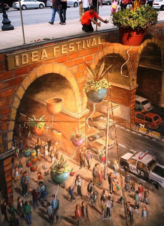 3D sidewalk art, amazing!