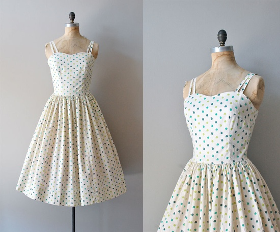 1950s dress / cotton 50s dress / Oxford Comma by DearGolden