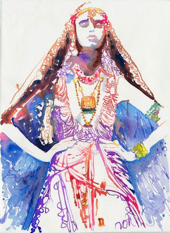 cool fashion illustration - watercolor