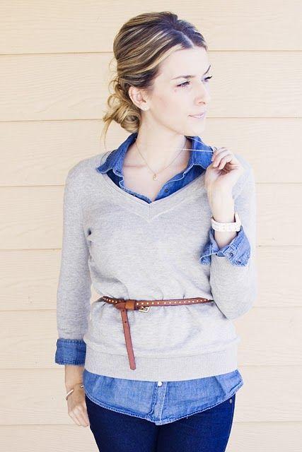 shirt + sweater + belt
