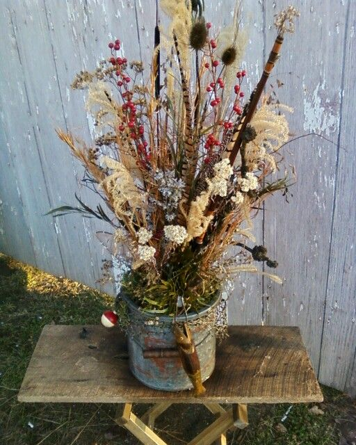 Minnow Bucket Dried Flower Arrangement
