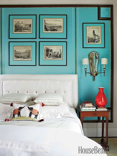 Turquoise bedroom. Design: Kelee Katillac. Photo: Bjorn Wallander. housebeautiful.com. #bedroom #turquoise #white_bedding #aquamarine