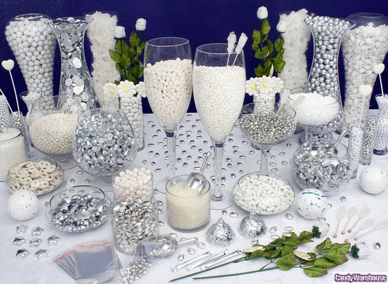 White Candy Buffet    Simple and pure, these exquisite white and silver candies make this elegant candy buffet scintillate with sophisticated charm.