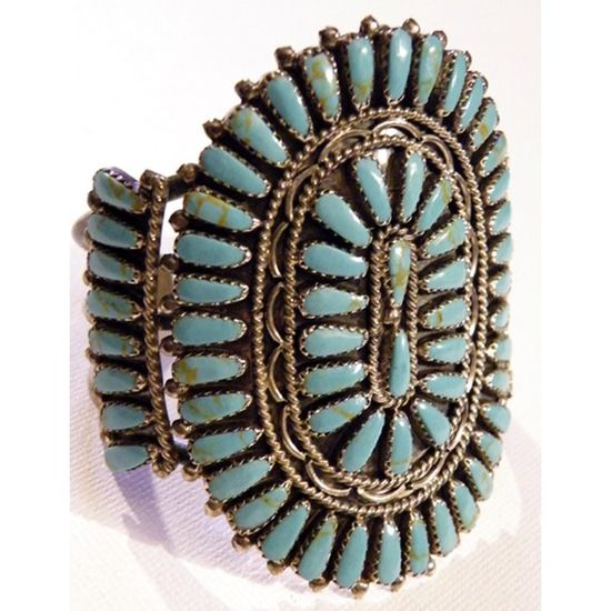 Antique Native American Indian Sterling Silver Turquoise Bracelet