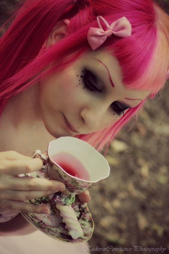 pink hair, eye makeup
