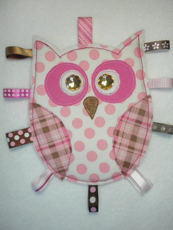 Baby GIRL OWL Tag Toy  Pink and Brown by HappyBubby -- no pattern