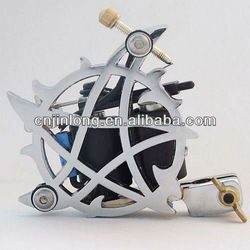 Stainless Steel Silver Tone Five-stared Handmade Tattoo Machine with 10 Wraps Coil Customisable from jinlong tattoo supply