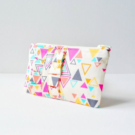 Coin purse wallet Aztec triangle shapes print by CuriousMissClay, £12.00