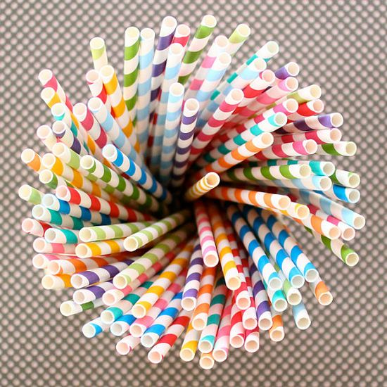 100 striped straws in rainbow colors, $16  {from Hey Yo Yo on Etsy--a fabulous party supply shop!}