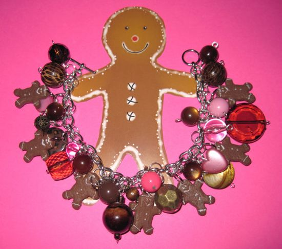 Gingerbread Man Jewelry Charm Bracelet Baking Cookies by Jynxx, $32.00