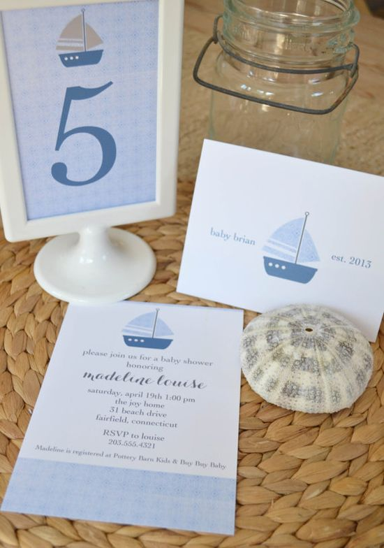 Nautical Baby Boy Shower Suite by ShorelyChic on Etsy, $75.00