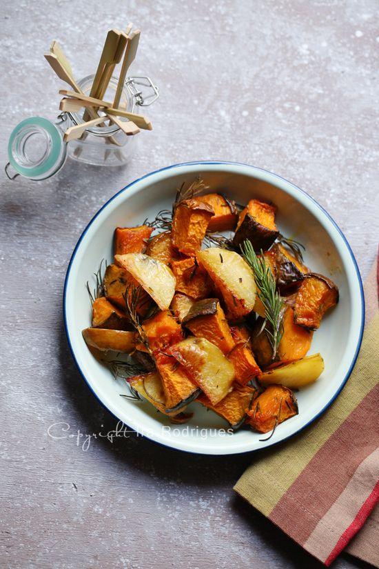 Rosemary garlic roasted potatoes and pumpkin