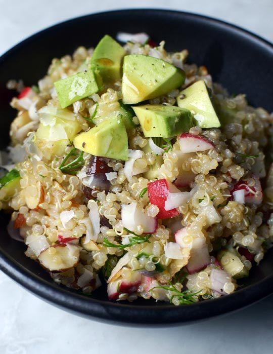 Golden quinoa salad with radish, dill and avocado