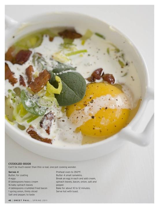Cuddled eggs via sweet paul