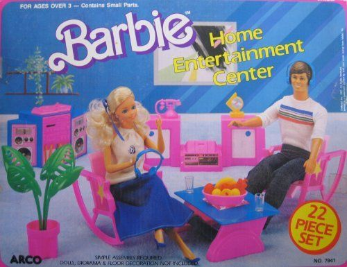 Barbie HOME ENTERTAINMENT CENTER 22 Piece Play Set (1987 Arco Toys, Mattel) by Arco Toys, Mattel. $219.95