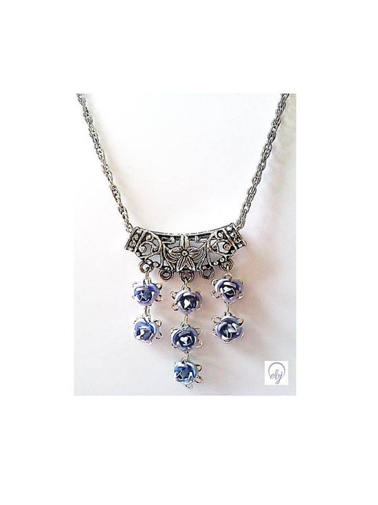 Blue Rose and Flower Pendant Necklace (Upcycle Jewellery) - UK Jewellery Designer - £43.00