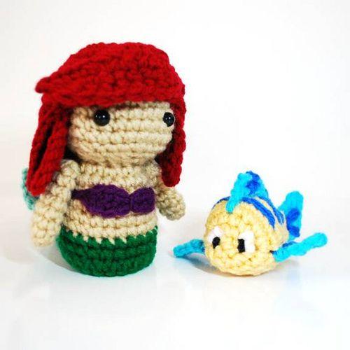 """Ariel and Flounder - Crochet Amigurumi Plush Dolls"" #Amigurumi  #crochet"