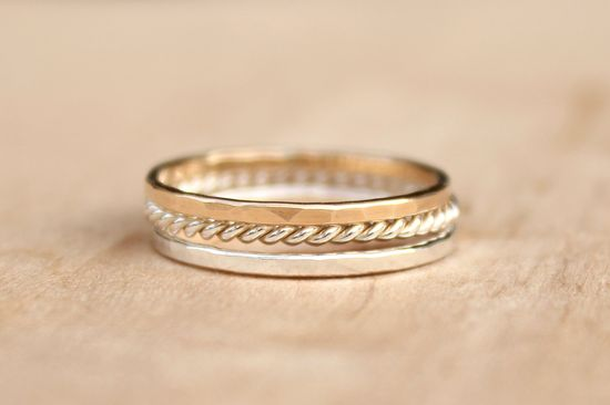 Stacking Rings - Set of 3 - Sweet Mix, elegant casual, eternity rings, stackers, thin ring. $38.00, via Etsy.