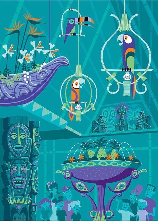 Enchanted Tiki Room 50th Anniversary illustration.