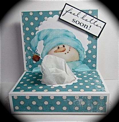 Tissue box card - get well card - bjl