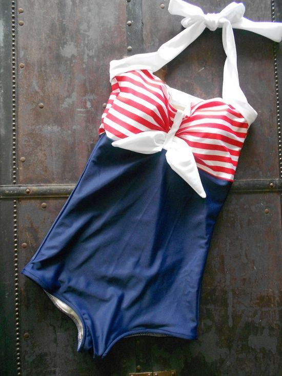 Pin Up Sailor Retro One piece swimsuit via Etsy.
