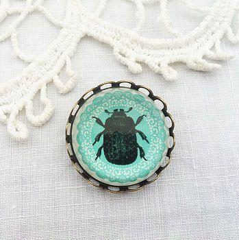 Vintage Style Glass Beetle Brooch