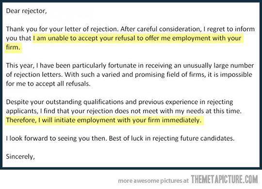 Epic rejection letter…