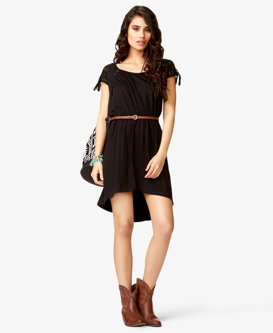 High-Low Lace-Sleeve Dress w/ Belt