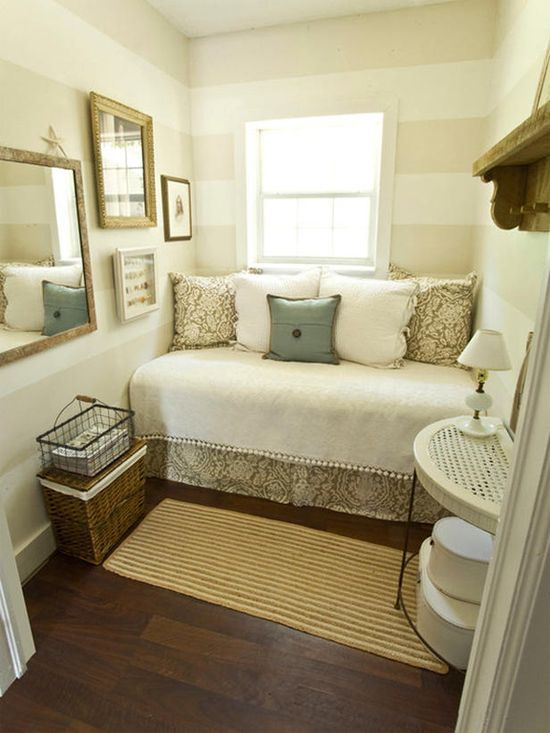 Great for a small bedroom....I wouldn't have striped walls, and I'd want to change the color palette.....I just love the placement....
