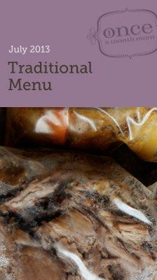 Traditional July 2013 Freezer Menu - everything you need (grocery list, recipe cards, instructions, labels, and more) to do a month worth of cooking in one day. #oamc #freezermeal #menuplanning