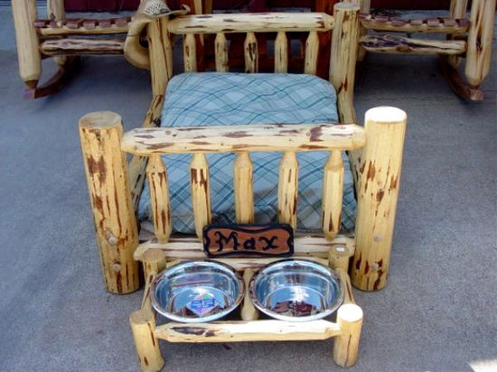 Rustic dog bed. ADORABLE!