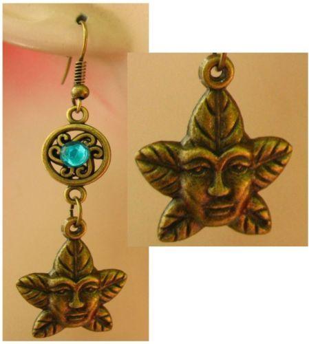 Burnished Gold Celtic Greenman Charm Dangle Earrings Handmade Jewelry Fashion