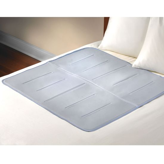gel-filled pad that provides soothing cooling to help you drift peacefully to sleep. Ideal for warm sleepers, the pad's unique gel almost immediately reduces the surface temperature of the skin to several degrees below the ambient temperature and continues to absorb excess body heat for approximately 45 minutes. Cooling naturally without requiring electrical power or refrigeration, the pad simply lays on top of a bed or under a sheet. As one normally changes positions during sleep, the vacated a